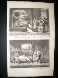 Picart C1730 Folio Antique Print. Banians Ceremonies, India